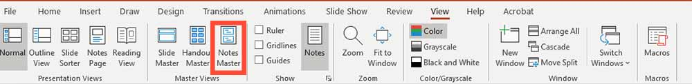 notes master view powerpointr-how-print presentation with notes